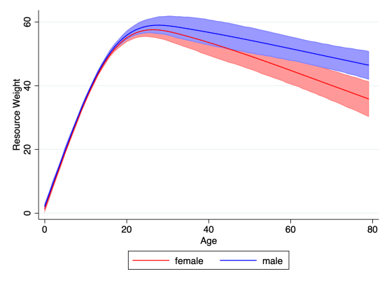 Age profile of resource weights, a cross-household measure of relative allocations